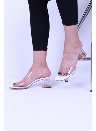 Derigo Derigo Neolit Taban Şeffaf Topuk Suni Deri Kadın Topuklu Ayakkabı Beyaz